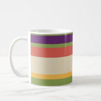 Rayas multicoloras 1 taza básica blanca