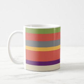 Rayas multicoloras 2 taza básica blanca