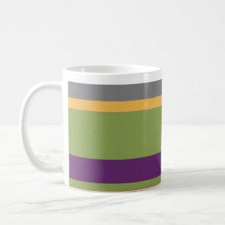 Rayas multicoloras 3 taza básica blanca