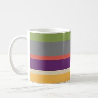 Rayas multicoloras 4 taza básica blanca