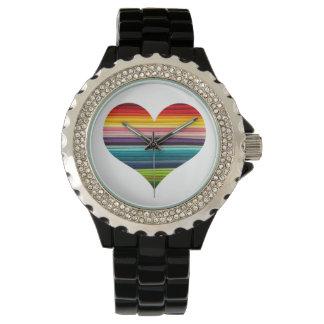 Rayas multicoloras coloreadas arco iris del diseño relojes de mano