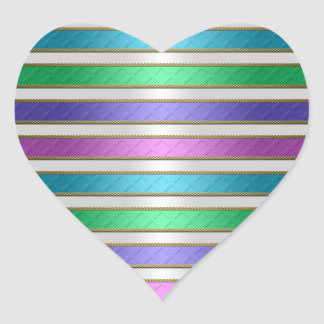 Rayas multicoloras de las cintas en púrpura azul pegatina en forma de corazón