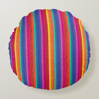 Rayas multicoloras del arco iris cojín redondo