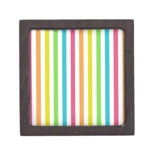 Rayas multicoloras elegantes caja de recuerdo de calidad