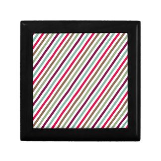 Rayas multicoloras elegantes diagonales caja de regalo cuadrada pequeña
