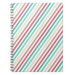 Rayas multicoloras elegantes diagonales libro de apuntes
