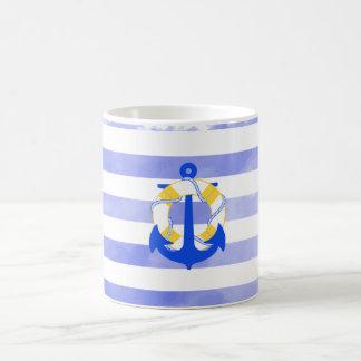 Rayas náuticas/ancla de PixDezines Taza Clásica