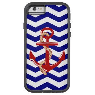 Rayas náuticas de Chevron del ancla roja Funda De iPhone 6 Tough Xtreme