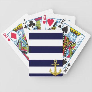Rayas náuticas del ancla del oro cartas de juego