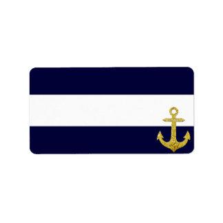 Rayas náuticas del ancla del oro etiqueta de dirección