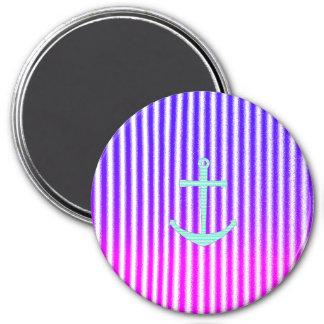 Rayas náuticas del ancla del trullo azul rosado de iman para frigorífico