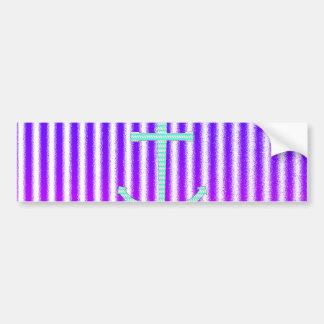 Rayas náuticas del ancla del trullo azul rosado de pegatina para auto