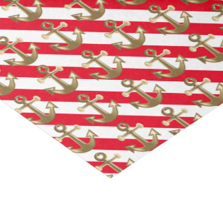 Rayas náuticas del blanco de las anclas el | del papel de seda pequeño