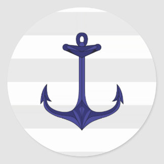 Rayas náuticas del blanco gris del ancla de los etiqueta redonda