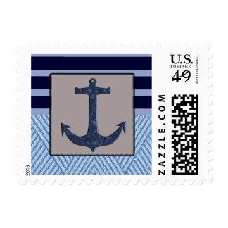 Rayas náuticas del diseño y de los azules marinos estampillas