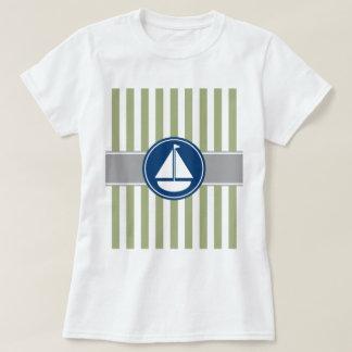 Rayas náuticas del velero de la verde salvia playeras