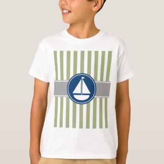 Rayas náuticas del velero de la verde salvia polera