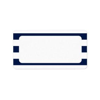 Rayas náuticas en blanco de la marina de guerra etiquetas de dirección