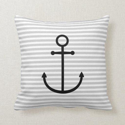 Rayas náuticas grises y negras y ancla linda almohada