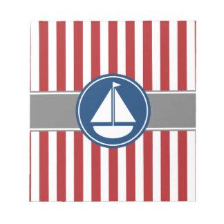 Rayas náuticas rojas del velero bloc de notas