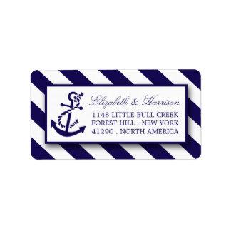 Rayas náuticas y boda del ancla de los azules etiquetas de dirección