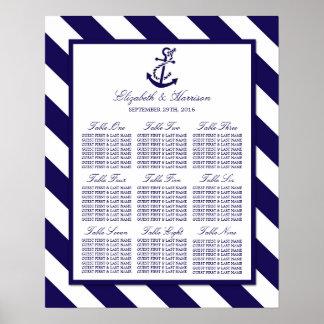 Rayas náuticas y boda del ancla de los azules póster