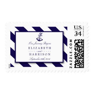 Rayas náuticas y boda del ancla de los azules sellos postales