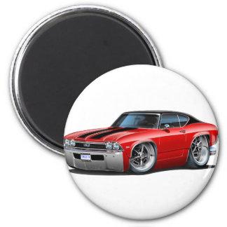 Rayas negras 1968 del rojo de Chevelle Imán Redondo 5 Cm