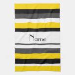 Rayas negras amarillas conocidas personalizadas de toallas