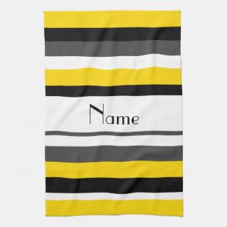 Rayas negras amarillas conocidas personalizadas toallas