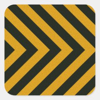 Rayas negras amarillas del peligro de Chevron Pegatina Cuadrada