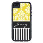 Rayas negras amarillas personalizadas del damasco iPhone 5 cárcasas