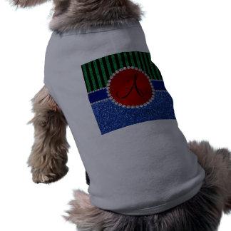 Rayas negras azules del verde del brillo del camisas de mascota