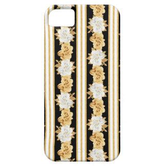Rayas negras blancas de los ramos del oro de los funda para iPhone SE/5/5s