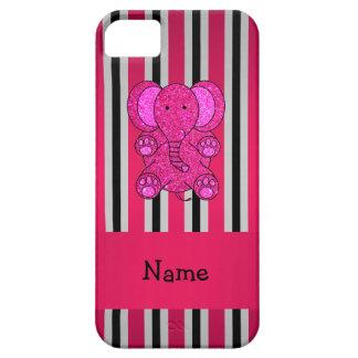 Rayas negras conocidas personalizadas del rosa del iPhone 5 carcasa