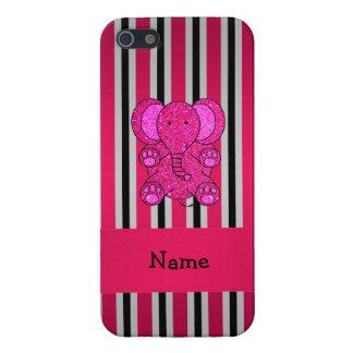 Rayas negras conocidas personalizadas del rosa del iPhone 5 protectores