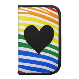 Rayas negras de la cebra del arco iris del corazón planificador