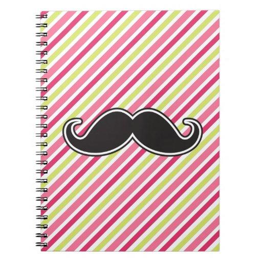 Rayas negras de la verde lima del rosa del bigote  note book