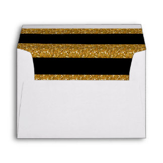 Rayas negras del encanto con el brillo del oro sobres