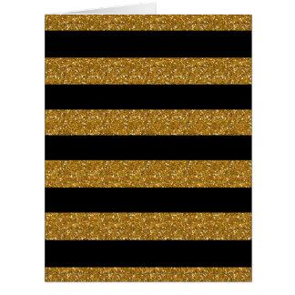 Rayas negras del encanto con el brillo del oro tarjeta de felicitación grande