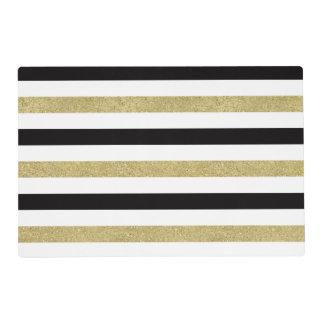 Rayas negras del oro blanco tapete individual