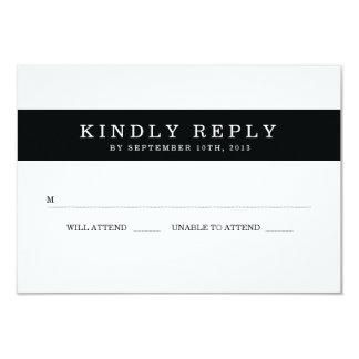 Rayas negras elegantes que casan RSVP Invitacion Personal