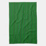 Rayas negras en verde toallas