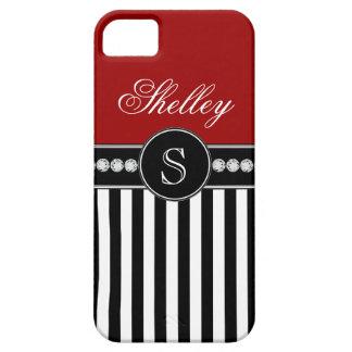 Rayas negras femeninas del rojo del nombre del mon iPhone 5 Case-Mate carcasa
