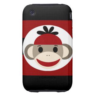 Rayas negras frescas del rojo del gorra de la gorr iPhone 3 tough fundas