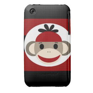 Rayas negras frescas del rojo del gorra de la gorr iPhone 3 carcasa