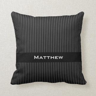 Rayas negras grises elegantes conocidas personaliz almohada