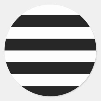 Rayas negras pegatina redonda