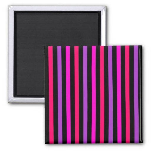 Rayas negras púrpuras rosadas - imán