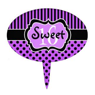 Rayas negras púrpuras, selección de la torta del d figuras para tartas